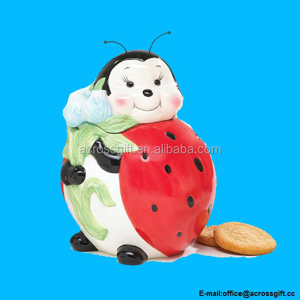 ceramic Adorable Ladybug Cookie Jar/Food Storage For Kitchen Decor And Collection