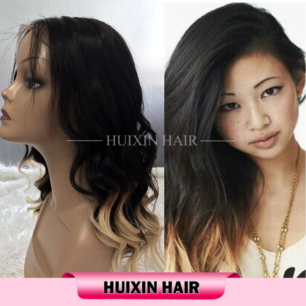 Sew In Human Hair Extensions Blonde Ombre Color Dark Root Body Wave