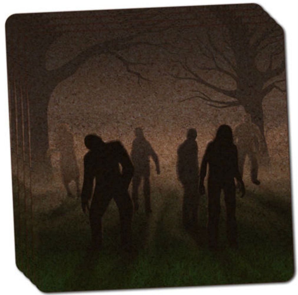 """Custom & Cool {4"""" Inches} Set Pack of 4 Square """"Grip Texture"""" Drink Cup Coaster Made of Cork w/ Cork Bottom & Dawn of The Apocalypse Rise of the Zombie Horde Design [Gray, Black, Green & Brown Colors]"""