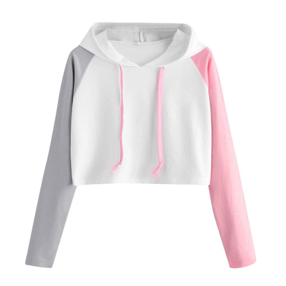 POTO Womens Crop Top Sweatshirt,Ladies Long Sleeve Hooded Sweatshirts Pullover Hoodie Short Tops Blouse Casual Jumper Shirt