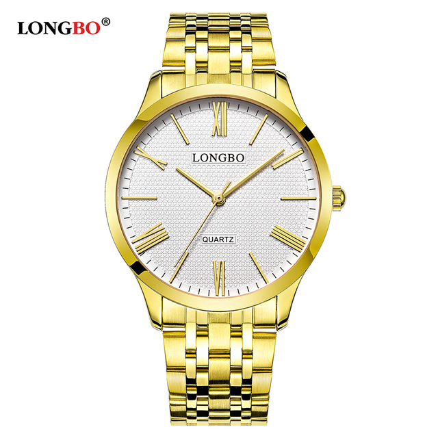 LONGBO 80265 Quartz Lovers Women Men Couple Clock Analog Steel Wristwatches Fashion Casual Gold Watches