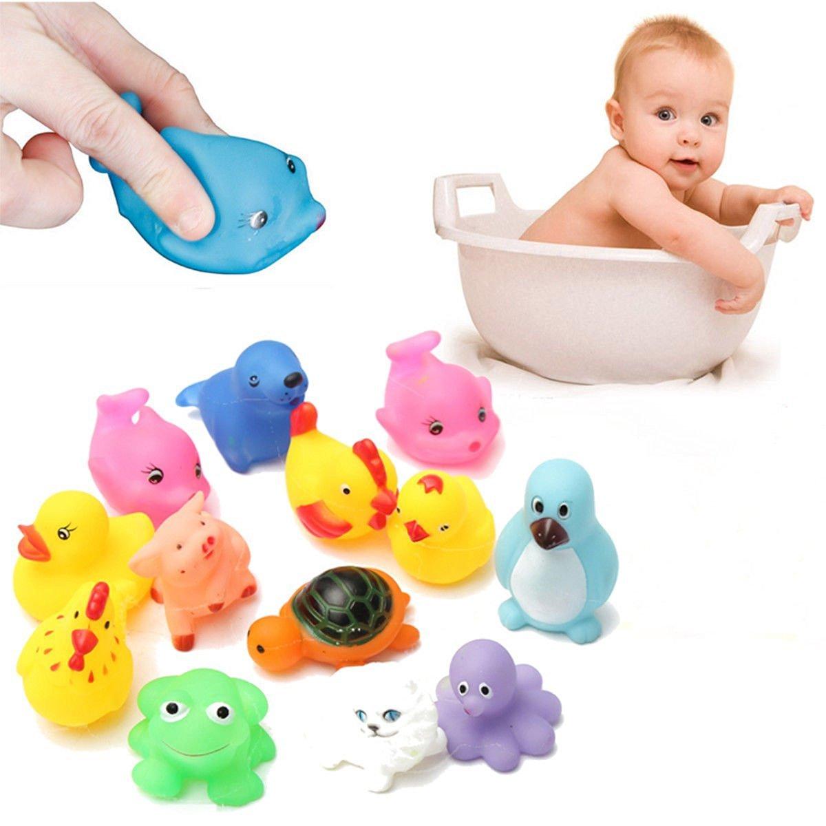Buy 13Pcs Cute Animals Baby Kids Bath Soft Rubber Float Sqeeze Sound ...