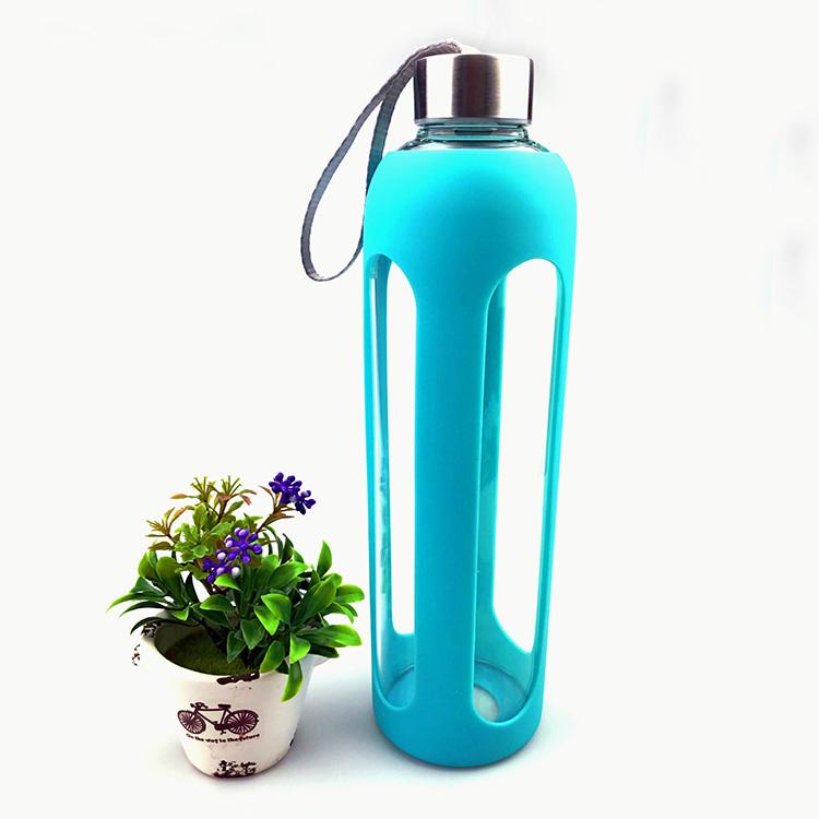 550ml borosilikat cam su şişesi spor silikon kol ile