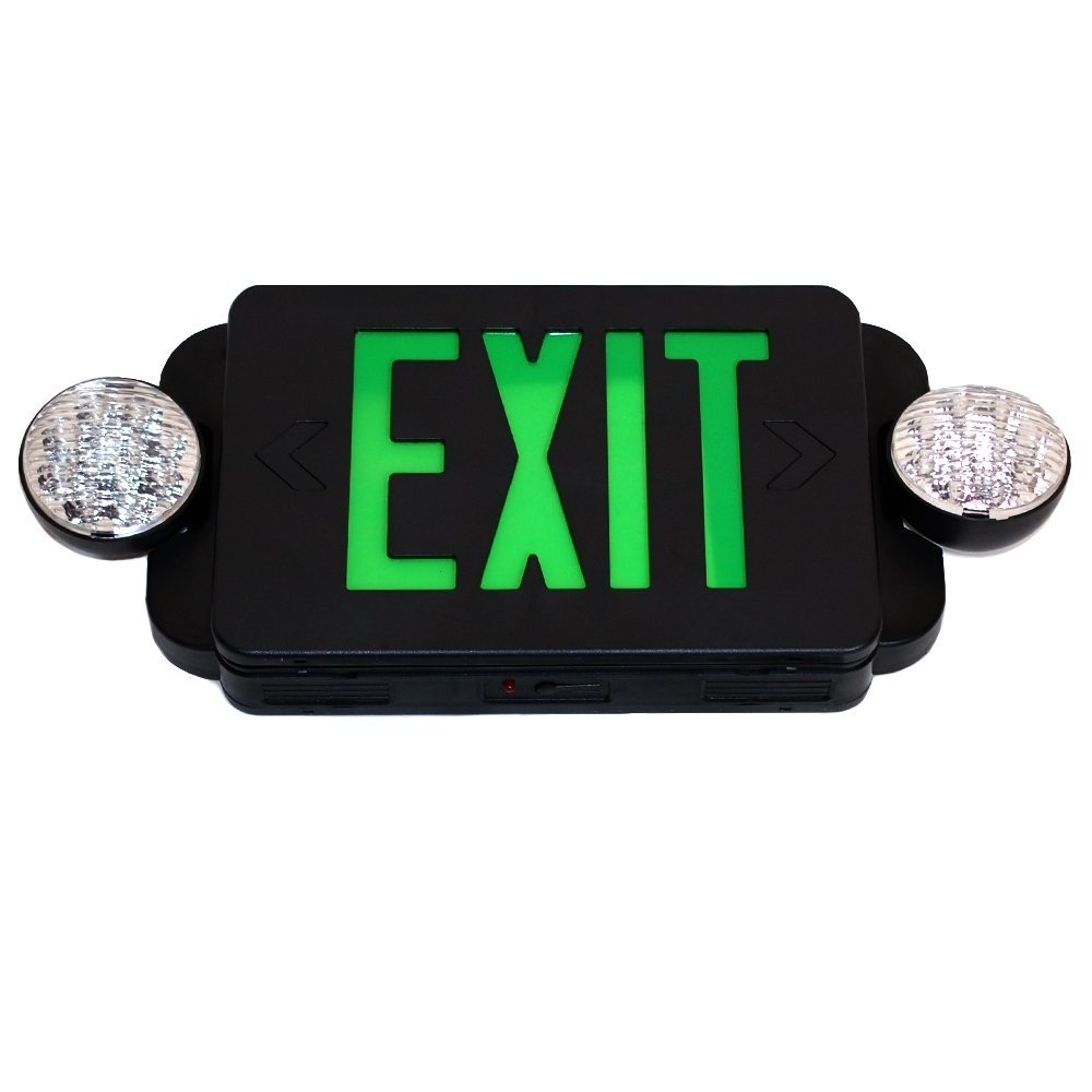 Modern Battery Backup UL924 eTopLighting FD3SCG-B Black Finished LED Green Emergency Exit Sign 1 Piece Green Letter V-PL1118