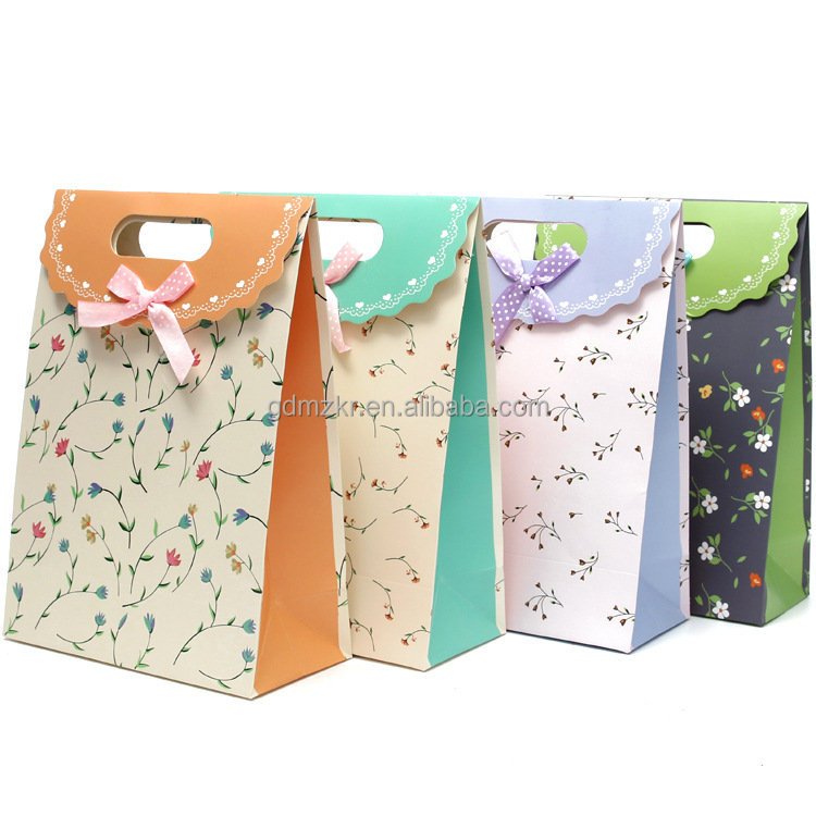 recycled kraft custom paper bag packaging food / cloth