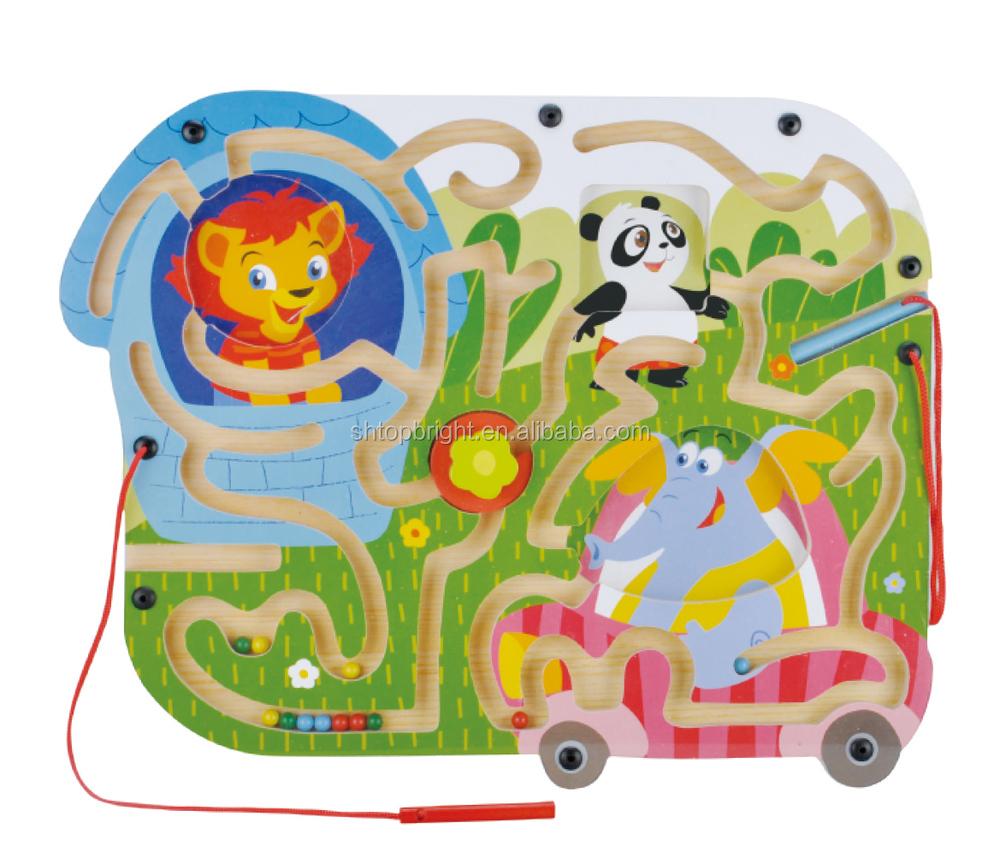 Anak Anak Singa Dan Panda Dan Gajah Desain Hewan Mainan Kayu Papan