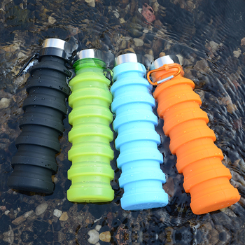 FDA LFGB Approved Silicone Water Bottle Factory Supply Nice-Looking Collapsible Sports Water Bottle