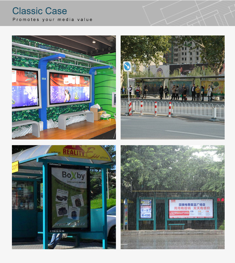 Stainless steel Frame Transparent tempered glass bus shelter Advertising LED light box