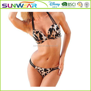 high end Sexy leopard print swimming wear women padded bra TOP 1