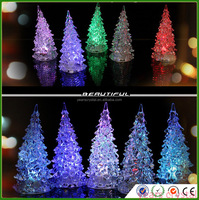 Years Crystal Small Cheapest Acrylic Crystal Christmas Trees With Led Light 7 Color Changing R-3029