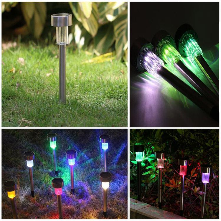 Solar energy street lamp LED stainless steel inserted ground garden lamp