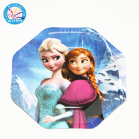 Wholesale China supplier frozen princess children happy birthday party cartoon cake octagonal paper plate baby shower favors set