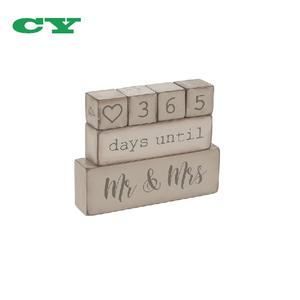 Rustic 6 Piece Wooden Block Wedding Day Countdown Calendar
