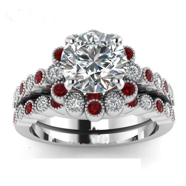 Heart Cut Cz Large Wedding Ring Set With Rhodium Plated Cz Mirco ...