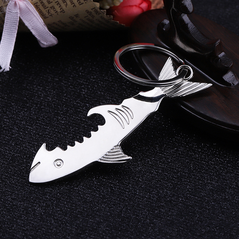 Top quality No MOQ  Custom Logo Metal New silver matte blank Shark Opener Keychain