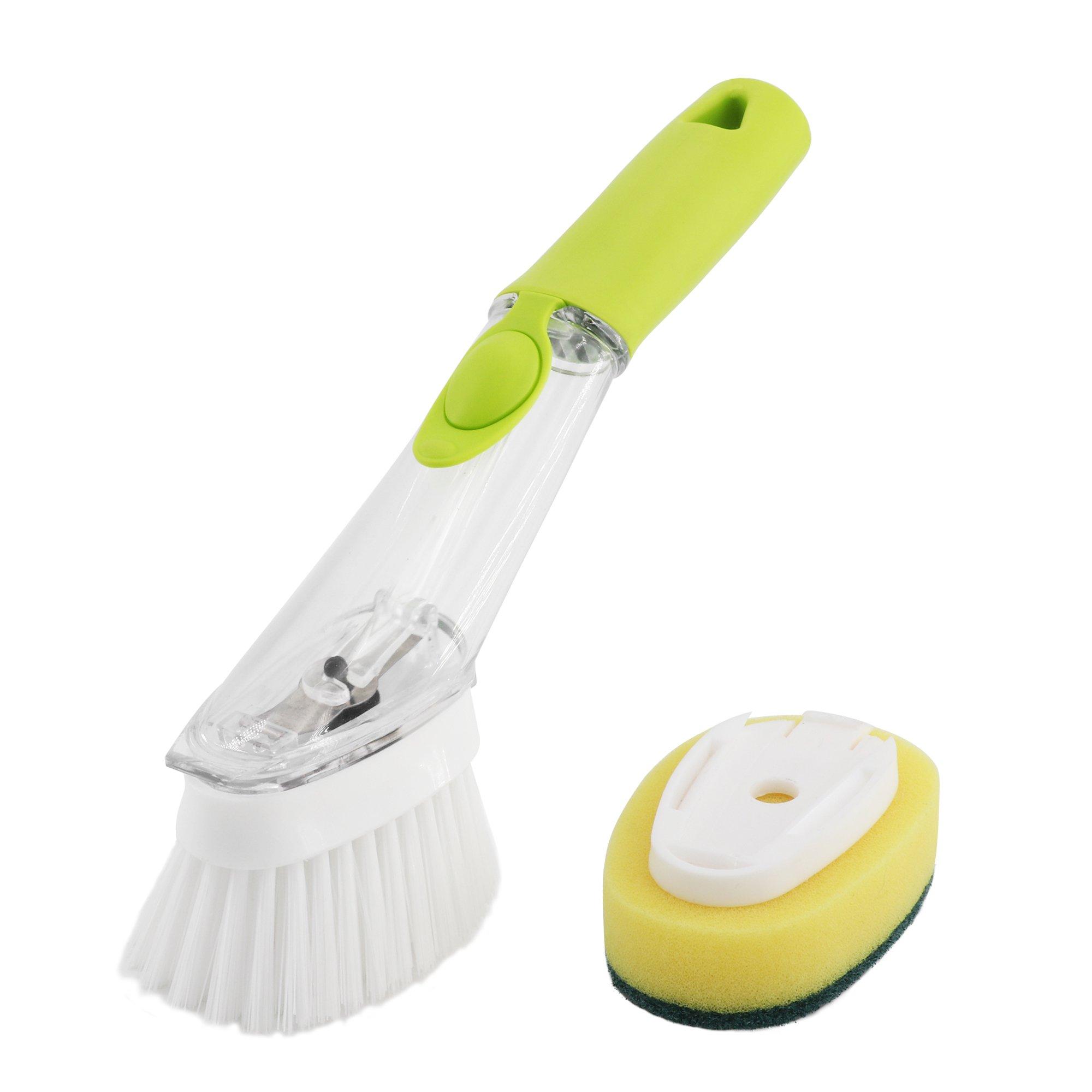 Deep Clean Dish Brush Set - Soap Dispensing Dish Brushes Refills 2 Pack ,Soap Dispensing Sponge Brush Scrub Brush ,Kitchen Grill Home Dish Brush Scrubbers With Refill Liquid Soap Dispenser DACHMA