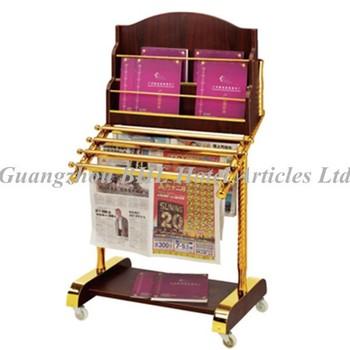 Guangzhou Hotel Supplies Wooden Library Magazine Rack Stainless Steel  Newspaper Rack Office Newspaper Display Rack J53