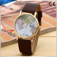 Fashion Watches Women Leather Global Travel By Plane Map Dress Band Wristwatches Bangle Bracelet Watches Wholesale LW054