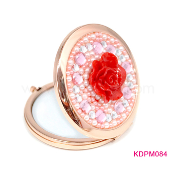 Round hand mirror crystal foldable mirror sparkle rhinestone compact mirror