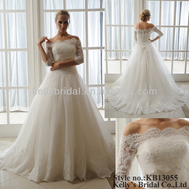 make of french lace layers tulle with jacket custom wedding dress