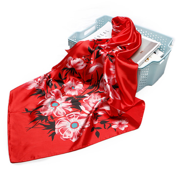 Factory Wholesale Price Women Fashion Red Flower Print Big Square Scarf Head Neck Muslim Hijab Shawl Wraps Scarves 90x90cm
