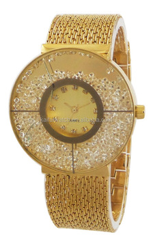 gold watch bling bling women lady floating charms watch fake big doule face  minimalist watch e5fe584c62
