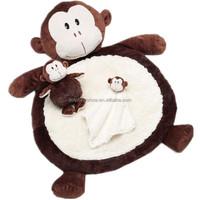 Best kids toy monkey plush toy baby play mat soft promotional comfortable foldable stuffed plush baby mat
