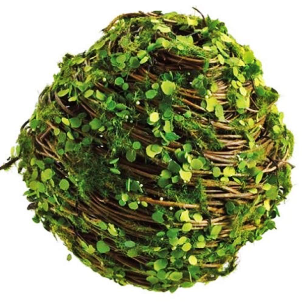 "PLERN Artificial Twig w/Mini Leaf Ball-Shaped Topiary Tree Green Plant 5.5"" (Pack of 6)"