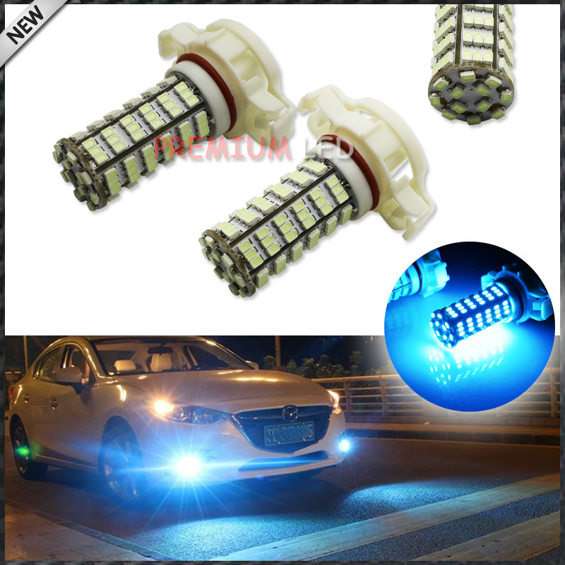 10000K Ice Blue 120-SMD H16 5202 2504 PSX24W LED Lamp Light Bulb For car DRL or Fog Light Replacements