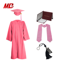 Lovely Pink 100% Matte Polyester Children Graduation Sets Caps and Gowns and Stoles and Diploma Covers and Key Chains