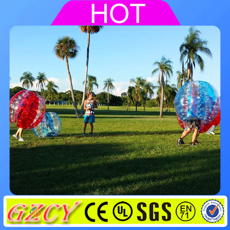 Funny playing toys person inside inflatable loopy bumper ball for football