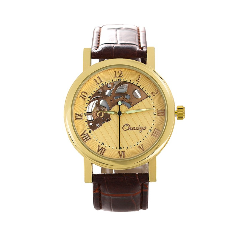 2017 Top Roles Brand Factory Online Shopping Leather Golden Hollow Watches Men Luxury Automatic