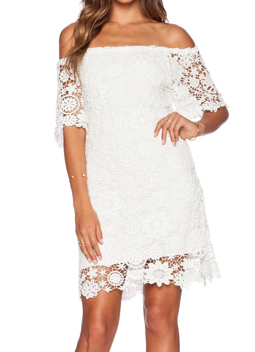 Mujeres Blanco Sexy Corsé Corto Crochet Vestido De Patrón De Alta ...