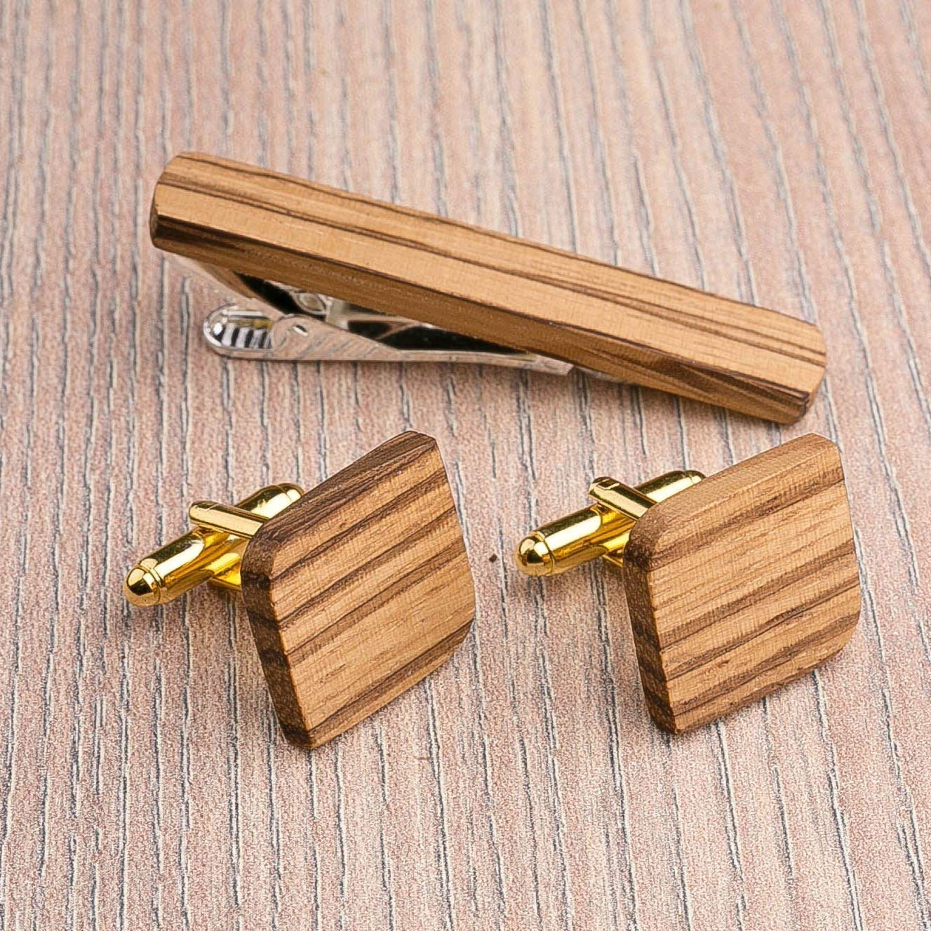 Rounded Square Wood Cufflinks and Tie Clip Set. Multicolor Zebrano wood. Custom personalized initial monogram men gift. Engraved jewelry for men. Wedding groomsmen groom gifts. Exclusive Boss gift