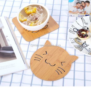 Factory Direct Sales cat shape top quality 3D rubber customized wooden coaster