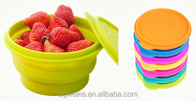 Collapsible portable silicone dinner lunch salad bowl&folding silicone bowl