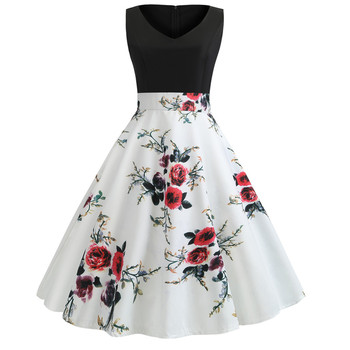 Summer dress Women Sexy Party Ball Print robe femme Sleeveless Splicing Vintage Ladies dress 2019 New Hepburn style Dress