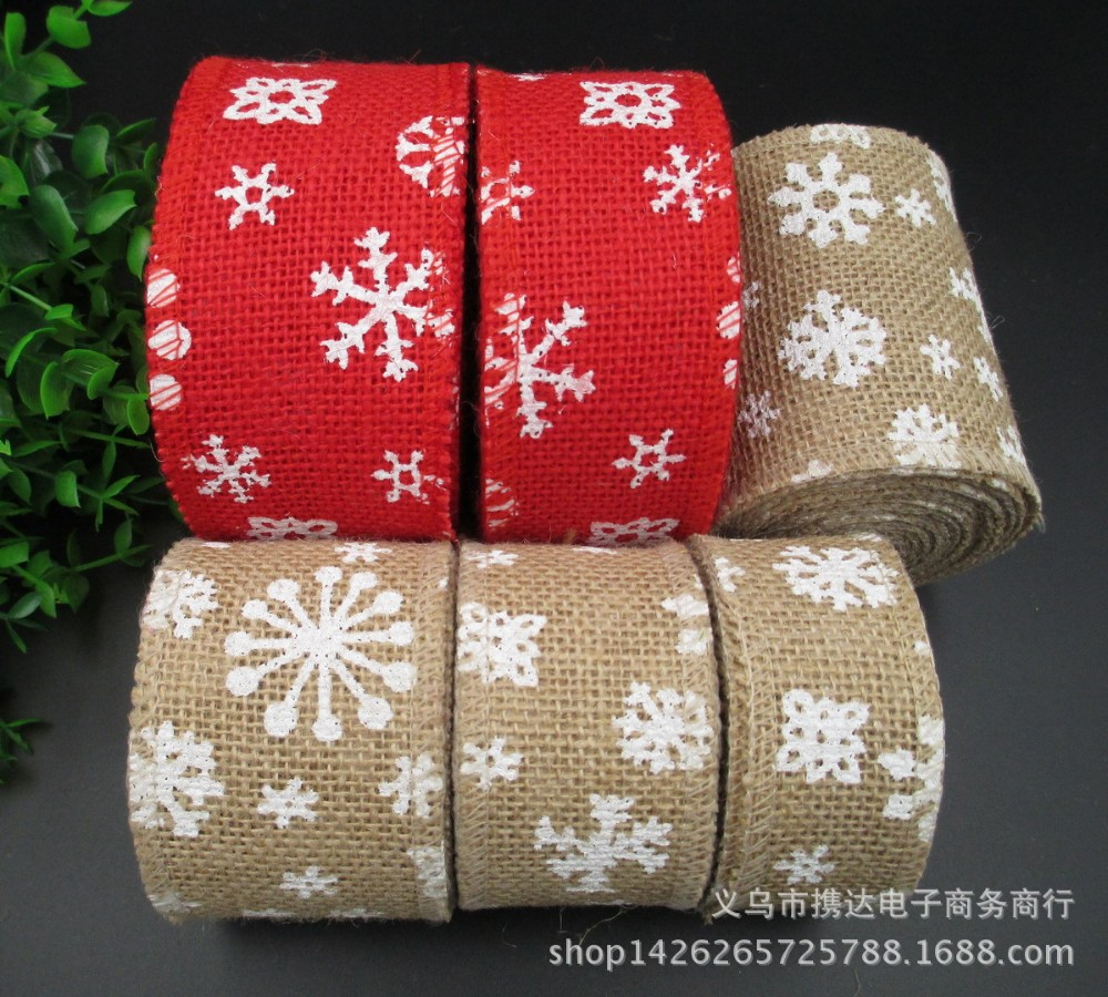 "Christmas Wreath Gift Wrapping Decoration Glitter Stripes Print  Wire Edge Woven Fabric Ribbon for Crafts 2.5"" X 5 Yards"