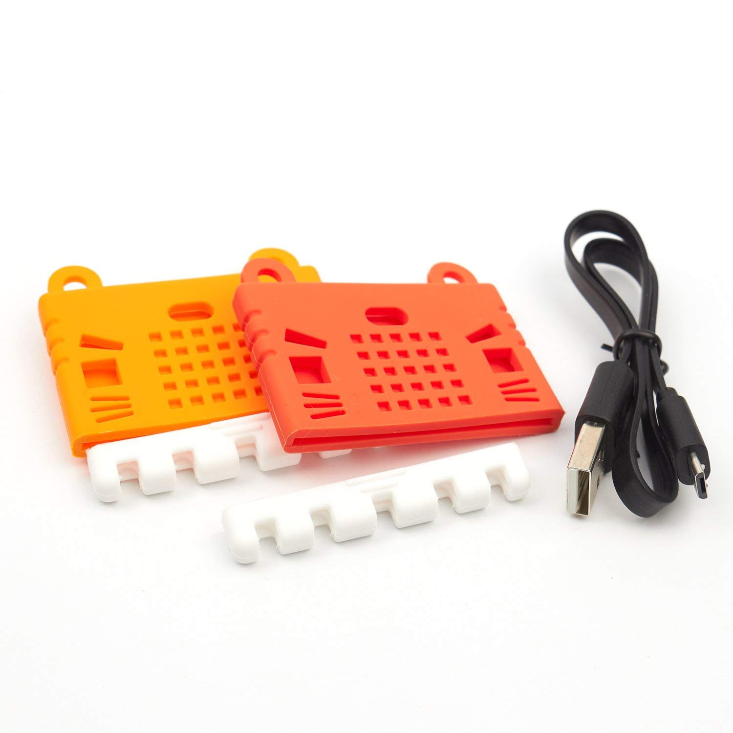 KittenBot Micro:Bit Case (2 PCS with 1 USB Cable) - Liquid Silicone - Soft Microfiber - Cute Pattern - Access to All Ports Mounted in 30 Seconds (2 colors: Red and Orange)