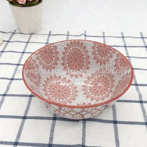 "Wholesale 6"" pad printing ceramic rice noodle cheap Japanese soup bowl"