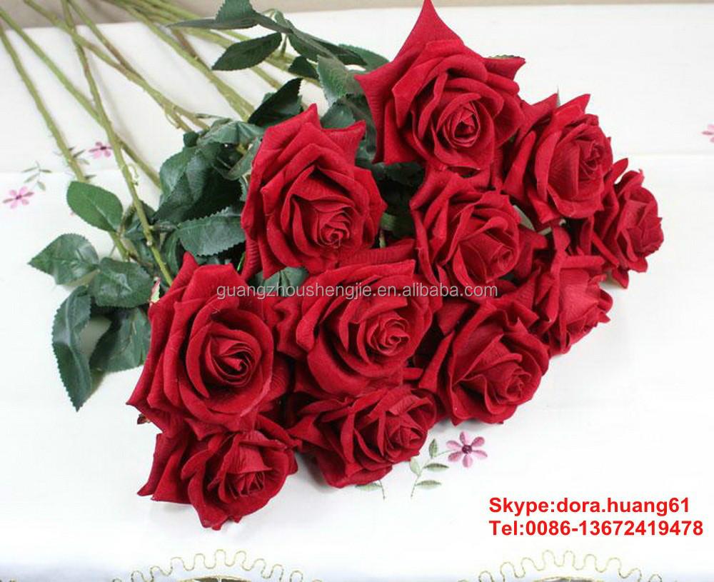 Sjh112923 Artificial Flowers Indian Rose Flower Cheap Artificial Red