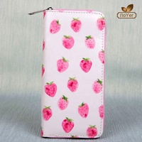 Factory cheap cute leather travel wallet long clutch purse ladies custom print wallet