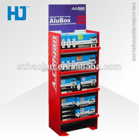 Point of sale cardboard floor display, paper shelves display stand for daily necessities in outlet stores & supermarket