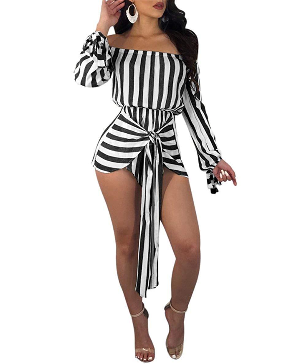 omniscient Women 2 Pieces Mesh Off Shoulder Crop Tops Short Pants Sheer See Through Jumpsuit