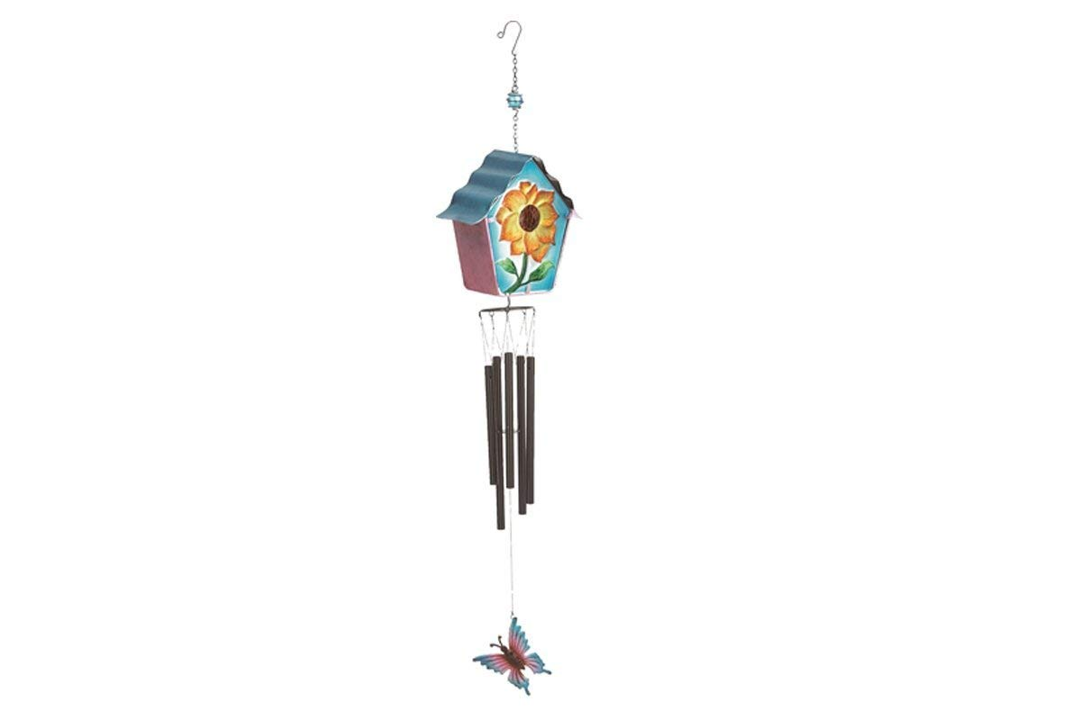 """Metal and Glass Wind Chime Beautiful Butterfly & Flower Birdhouse Design Chimes Home and Garden Hanging Ornament 39"""" Long (Blue Butterfly)"""