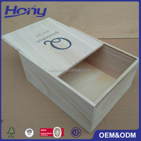 Custom Printing Logo Cheap Price Unfinished Paulownia Wholesale Wooden Packaging Boxes with Slide Top