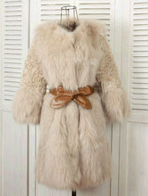 TT278 Genuine curl lamb/wool fur coat and fox fur mixed coat for women