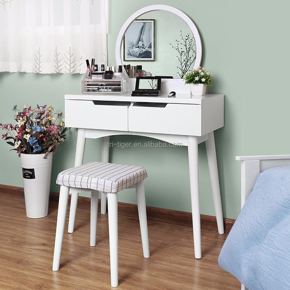 מדהים שרפרף שולחן חדר שינה בנות סט שולחן איפור מראה איפור שידה-שידות RU-27