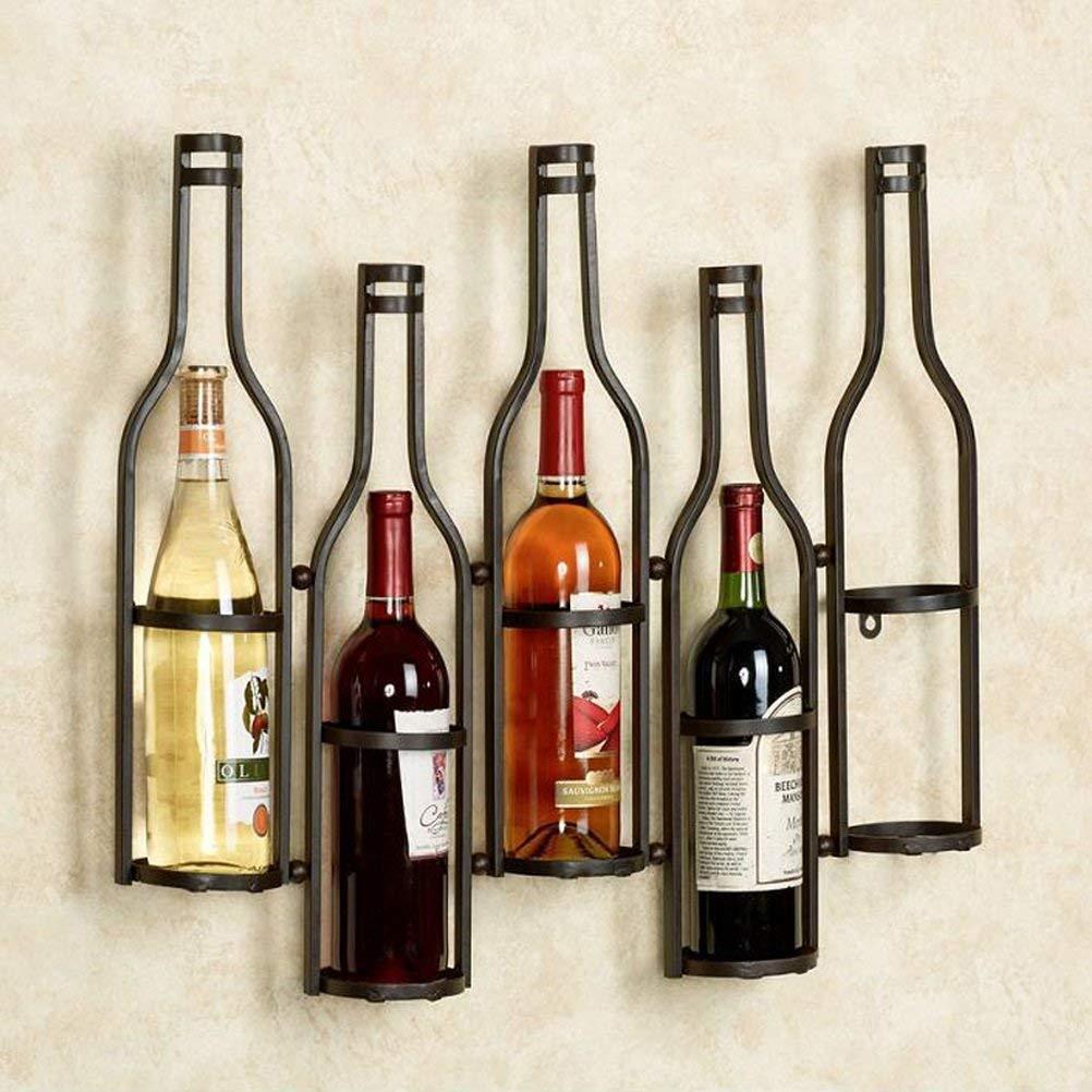 WAN SAN QIAN - Creative Iron Art Wine Rack Wall Hanging Bar Wall-mounted Black 65x52x10cm Wine rack