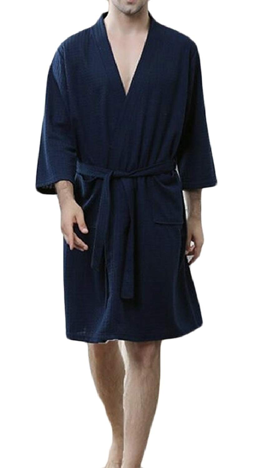 ccfe990705 Get Quotations · CBTLVSN Men s Waffle Kimono Robes Spa Bathrobe Terry Cloth  Robe